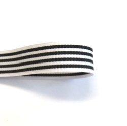 画像1: 15mmストライプグログラン(白/黒)