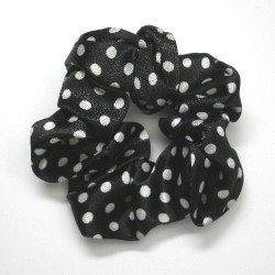 画像1: サテン黒に白い水玉模様のシュシュ【1個】