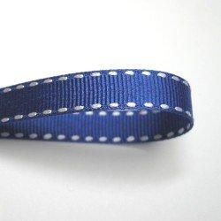 画像1: 10mm白ステッチグログラン(青)