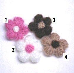 画像1: 1段モヘア編みお花【1個】
