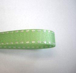 画像1: 10mm白ステッチグログラン(スペアミント)