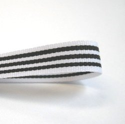 画像1: 10mmストライプグログラン(白/黒)