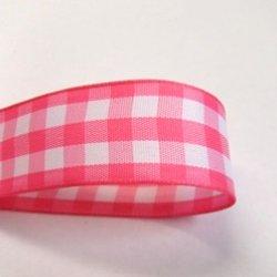 画像1: ピンク色のチェックリボン