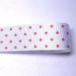 画像1: 白地にピンクの水玉のグログラン