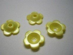 画像1: 18mmパール花カップ 黄色【10個】