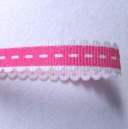 画像1: レース風ステッチリボン(濃いピンク)