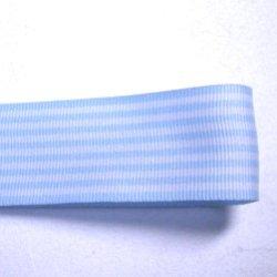 画像1: 25mm水色のストライプのグログラン