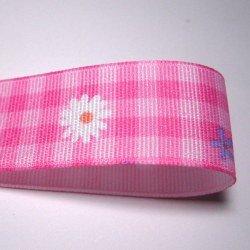 画像1: 25mmマーガレット柄チェックグログラン(ピンク)