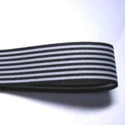 画像1: 25mm黒のストライプのグログラン