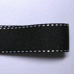画像1: 25mm黒地に白ステッチのグログラン